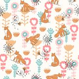 Vector seamless pattern. Cute hand drawn seamless pattern with foxes Stock Photos