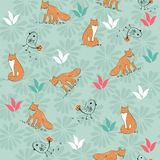 Vector seamless pattern. Cute hand drawn seamless pattern with foxes Stock Image
