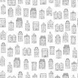 Vector seamless pattern with cute houses on white background stock illustration