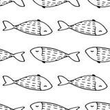 Vector seamless pattern of cute karakul fish with a pattern of scales in short strokes, a black outline on a white
