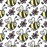 Vector seamless pattern with cute little bees, hearts and flowers. Happy Valentine day card Stock Photography