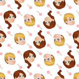 Vector seamless pattern of cute little boy and girl begging for sweets Stock Photos