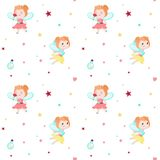 Vector seamless pattern with cute little fairies stock illustration