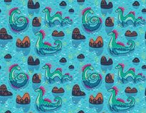 Vector seamless pattern with cute Loch Ness Monsters and decorative hills in the lake. Cartoon blue surface background. Seamless pattern with Loch Ness Monsters stock illustration