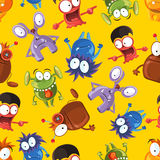 Vector seamless pattern with cute monsters. Funny monster characters on yellow background Royalty Free Stock Image