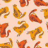 Vector seamless pattern with cute orange and red cheetahs on the pink background. Tropical animals. stock photo