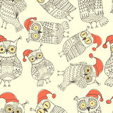 Vector seamless pattern with cute owls Stock Photo