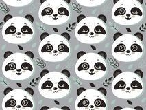 Vector seamless pattern with cute panda faces and leaves royalty free illustration
