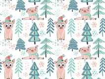 Vector seamless pattern with cute piglets royalty free illustration