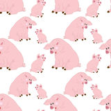 Vector Seamless Pattern with Cute Pigs. Vector Baby Pig. Pig Seamless Pattern. Vector seamless pattern with cute cartoon pigs on white background. Vector baby Stock Photo