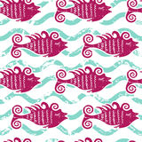 Vector seamless pattern cute pink fish and water wave. Summer ma Royalty Free Stock Photos