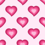 Vector seamless pattern with cute pink hearts Stock Photos
