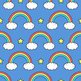 Vector seamless pattern with cute rainbows, clouds and stars Stock Photo