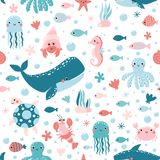 Vector seamless pattern with cute sea animals. stock illustration