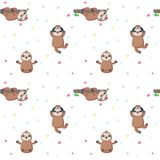 Vector seamless pattern with cute lazy sloths vector illustration