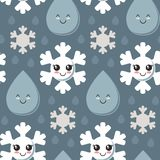Vector seamless pattern with cute smiling snowflake, rain drop faces. stock illustration