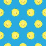 Vector Seamless Pattern with Cute Smiling Sun Kawaii Icons. stock illustration