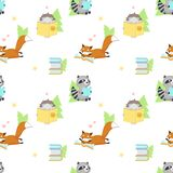 Vector seamless pattern with cute squirrel and bunny reading books. Funny reading animals background, wallpaper, fabric. Wrapping paper stock illustration