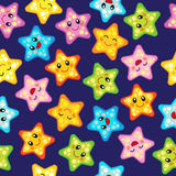 Vector seamless pattern with cute stars. Joyful design with star ornaments in various sizes and colors Royalty Free Stock Images