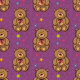 Vector seamless pattern with cute teddy bear Royalty Free Stock Image
