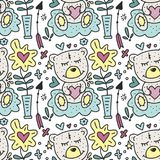 Vector seamless pattern with cute Teddy bears hearts and flowers. Happy Valentines day card Royalty Free Stock Photography
