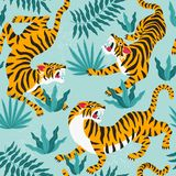 Vector seamless pattern with cute tigers on background. Circus animal show. Fashionable fabric design. Vector seamless pattern with cute tigers on background royalty free illustration