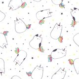 Vector seamless pattern with cute unicorn cat or caticorn