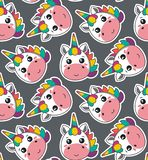Vector seamless pattern with cute unicorn faces stock illustration