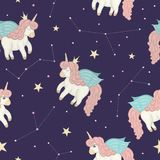 Vector seamless pattern with cute watercolor style unicorns on night sky. With stars and constellations. Sweet girlish illustration on dark purple background royalty free illustration