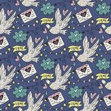 Vector seamless pattern with cute white doves, letters of love and hearts. Royalty Free Stock Photo