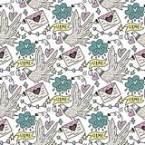 Vector seamless pattern with cute white doves, letters of love and hearts. Stock Images