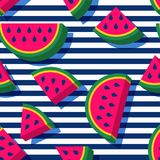 Vector seamless pattern with 3d style watermelon slices and navy striped background. Summer fashion textile print. Stock Images