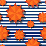 Vector seamless pattern with 3d stylized orange sun and navy stripes. Summer marine striped background. Design for geometric fashion textile print, wrapping royalty free illustration