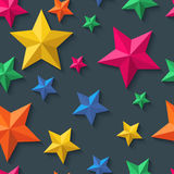 Vector seamless pattern with 3d stylized paper stars on black background. Stock Images