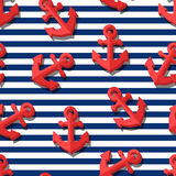 Vector seamless pattern with 3d stylized red anchors and blue navy stripes. Stock Photo
