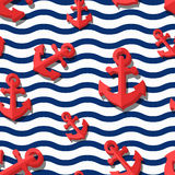 Vector seamless pattern with 3d stylized red anchors and blue wavy stripes. Summer marine striped background. Design for fashion textile print, wrapping paper Royalty Free Stock Photo