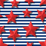 Vector seamless pattern with 3d stylized red stars and blue navy stripes. Summer marine striped background.  Design for fashion textile print, wrapping paper Stock Photo