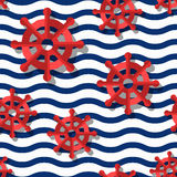 Vector seamless pattern with 3d stylized red steering wheels and blue wavy stripes. Royalty Free Stock Images