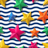 Vector seamless pattern with 3d stylized stars and and blue wavy stripes. Summer marine striped background.  Design for fashion textile print, wrapping paper Royalty Free Stock Photo