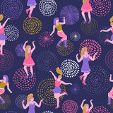 Vector seamless pattern with dancing girls and fireworks. Stock Photo