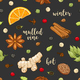 Vector seamless pattern on dark with mulled wine Stock Photos