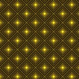Golden bright decorated geometric seamless pattern. Vector seamless pattern of decorated rhombuses and squares in gold, yellow and brown colors. vivid design for Stock Photos