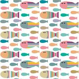 Vector seamless pattern with decorative abstract geometric fish royalty free illustration