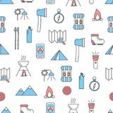 Vector flat line art hiking seamless pattern. Vector seamless pattern with decorative camping, trekking symbols, icons. Hiking background, wrapping paper texture Stock Photo