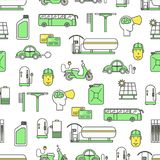 Vector flat line art fueling seamless pattern Royalty Free Stock Photos