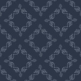 Vector seamless pattern with decorative elements in victorian style. On the dark blue background Stock Photography