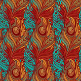 Vector Seamless pattern with decorative feather. Vector seamless pattern consist of decorative feather Royalty Free Stock Photography