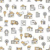Vector flat line art house property seamless pattern Royalty Free Stock Image