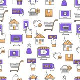 Online shopping vector flat line art seamless pattern. Vector seamless pattern with decorative online shopping symbols, icons. E-commerce background, wrapping Stock Images