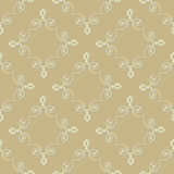 Vector seamless pattern with decorative ornament. On the beige background Royalty Free Stock Photo